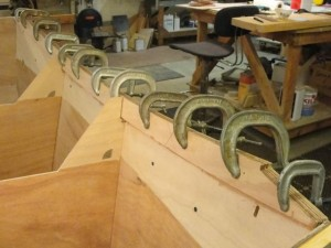 Transom inwhale being glued up.