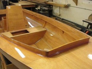 PT Skiff close up on forward & upper coamings finished