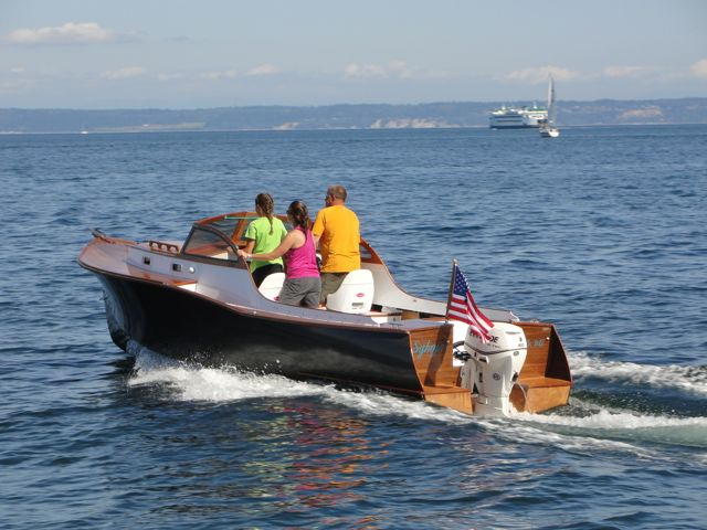 Builder of the PT Skiff, PIKA in his new, family built, original design, motorboat, Syhoja. Powered with a 60HP E-Tech