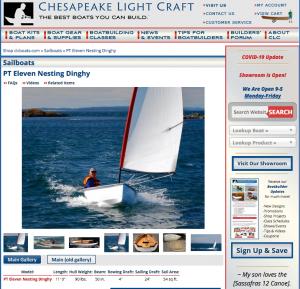 image of the clcboats.com PT 11 page